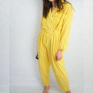 Vintage 80s Yellow Jumpsuit